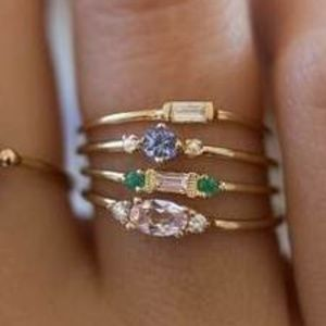 4pcs/Set Fashion Women Rings 18k  Gold Plated
